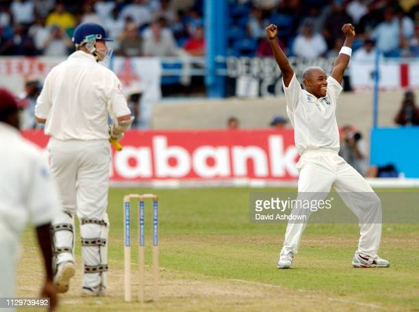 2nd TEST 2nd DAY 20/3/2004 AT THE QUEENS PARK OVAL PORT OF SPAIN TRINIDAD TINI BEST AFTER TAKING THE WICKET OF TRESCOTHICK.