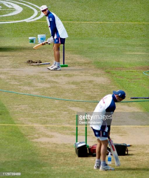 2nd TEST AT THE QUEENS PARK OVAL PORT OF SPAIN 18/3/2004 MICHEAL VAUGHAN AND NASSA HUSSAIN INSPECTS THE WICKET IN TRINIDAD.