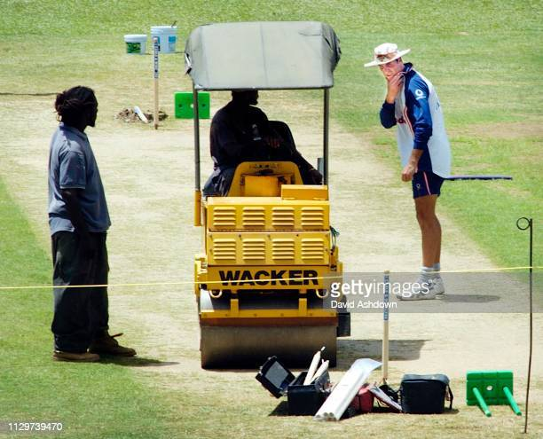 2nd TEST AT THE QUEENS PARK OVAL PORT OF SPAIN TRINIDAD 18/3/2004 MICHEAL VAUGHAN AND THE WICKET.