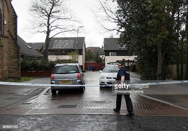 2Police cordon off a road in Croxteth following 12 arrests in connection with murder of 11yearold schoolboy Rhys Jones April 15 2008 in Liverpool...