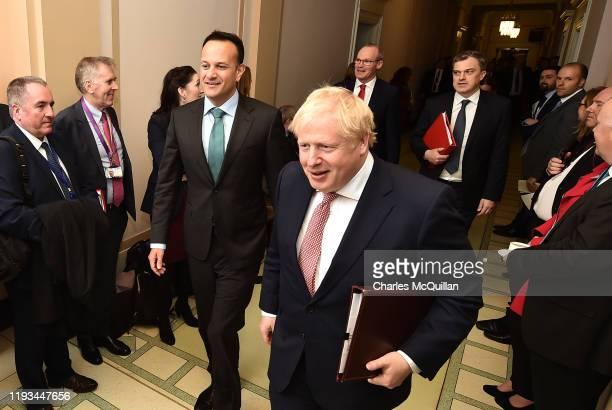 2Taoiseach Leo Varadkar and British Prime Minister Boris Johnson meet at Stormont on January 13 2020 in Belfast Northern Ireland