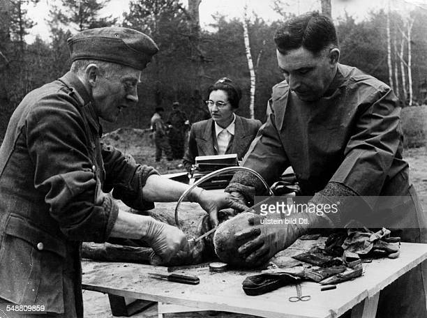 2World War Soviet Union Katyn massacre 1940 exhumation of corpses by a german guided investigation commission Prof Palmieri dissecting the skull of a...