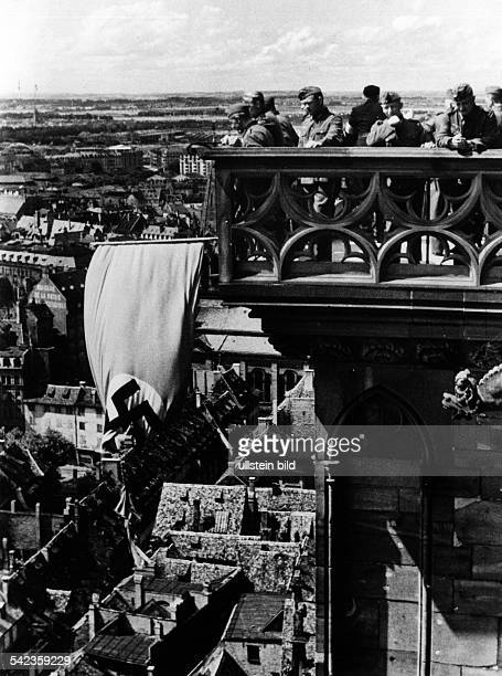 german occupation of france from 230640 on Alsace German soldiers on the tower of the Strasbourg cathedral August 1940Vintage property of ullstein...