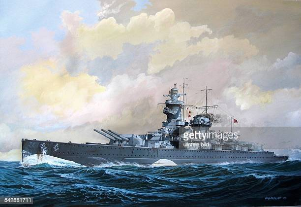 2ww naval warfare german pocket battleship 'Admiral Graf Spee' on mission in the PacificDecember 1939Gouachepainting by Rahardt 2000