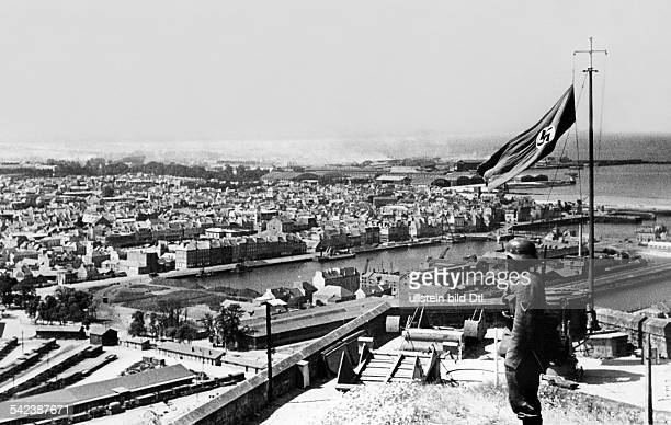 2wwcampaign in the west 1005 german occuopation of FranceThe german svastika flag above Cherbourg harbour End of July 1940