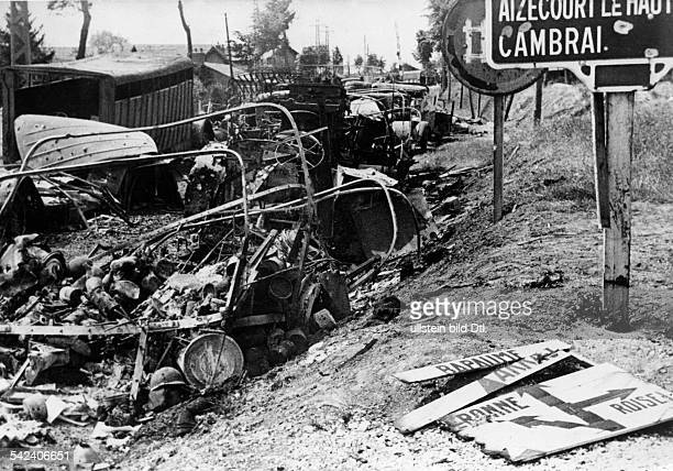 2wwcampaign in the west 1005 remains of an allieed supply convoy after the attack of german divebombers near Cambrai about