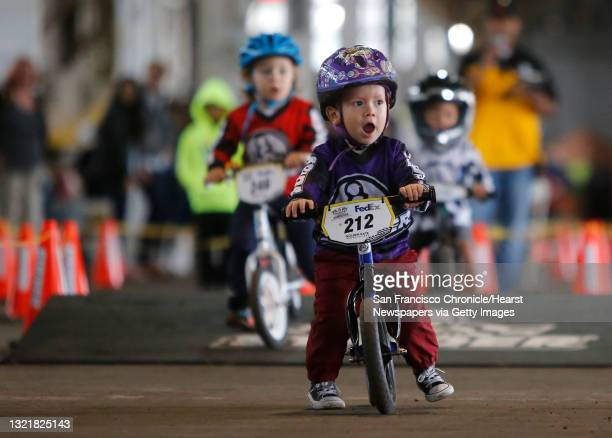 Year-old Matthew Mendoza of Thousand Oaks leads the pack during the Strider Cup World Championship bicycle race at Pier 35 along the Embarcadero in...