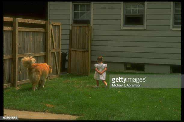 2yrold Jessica DeBoer walking w dog Miles re adoptive parents loss of custody battle resulting in her imminent return to biological parents