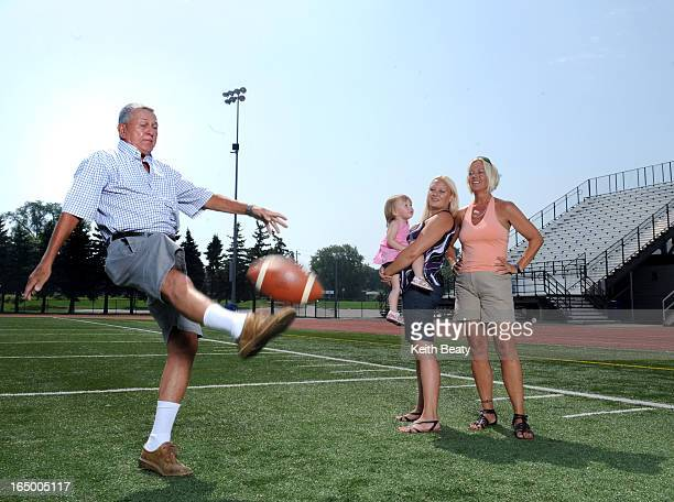 30Aug2010 veteran football official Ken Green with daughter Kelly granddaughter Lindsey and great granddaughter Riley 1 1/2 David Grossman story...