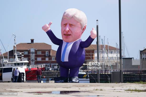 30ft inflatable Boris Johnson erected in Hartlepool Marina ahead of a visit by Prime Minister Boris Johnson after the Conservative Party candidate...