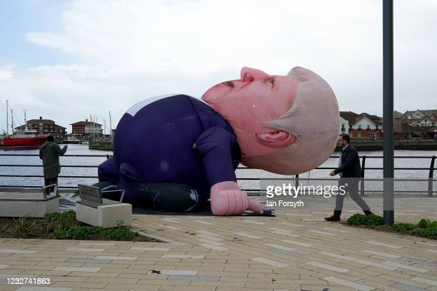 30ft inflatable Boris Johnson erected in Hartlepool Marina during a visit by Prime Minister Boris Johnson after the Conservative Party candidate Jill...