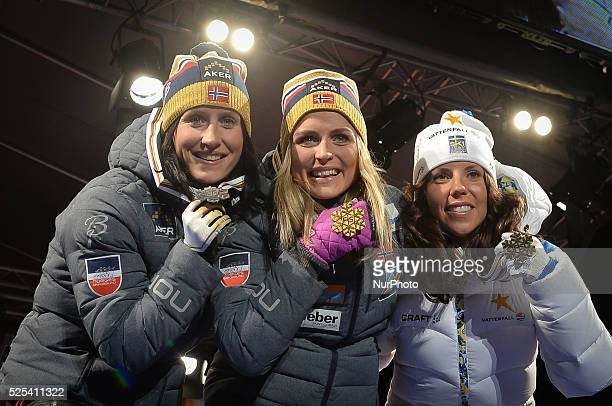 COUNTRY 30km Ladies Mass Start podium Norway's BJOERGEN Marit and Therese Johaug and Sweden's KALLA Charlotte FIS Nordic World Ski Championship 2015...