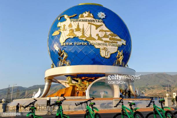 Metre monument honouring cycling, which has become an important component of state propaganda that promotes a healthy lifestyle is pictured, in...