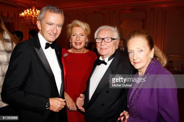 Bernard Arnault Monique Raymond Pierre Cardin and Doris Brynner attends the Charity Dinner for Cardiovascular Research at Hotel Dassault on September...