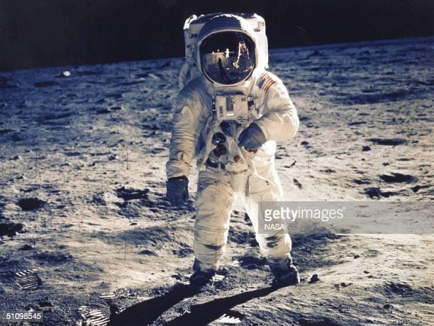 30Th Anniversary Of Apollo 11 Landing On The Moon : Astronaut Edwin E. Aldrin Jr., Lunar Module Pilot, Is Photographed Walking Near The Lunar Module...