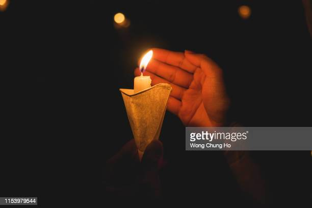 30th anniversary of candlelight vigil for june 4 massacre in hong kong - memorial event stock pictures, royalty-free photos & images