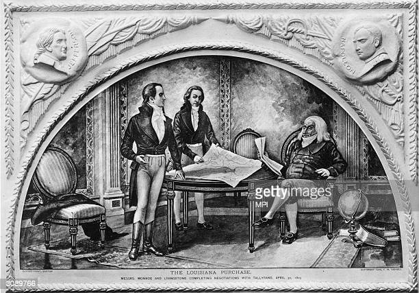 Statesmen James Monroe and Robert R Livingstone completing negotiations with Comte Talleyrand for the Louisiana purchase