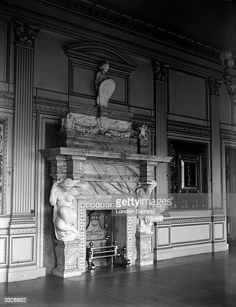 The grand marble fireplace in the Alfred Steven's room at Dorchester House the exAmerican embassy in London which is to be demolished