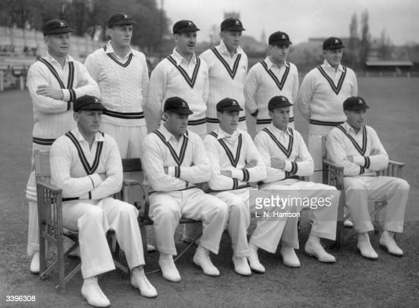South African cricket team at Worcester L to r back row J Lindsay A Rowen J Plimsoll L Tuckett N Mann and D Begbie L to r front row K G Viljoen D...