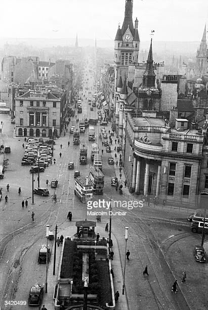 A view from the Salvation Army Citadel looking down on traffic in Union Street in Aberdeen The Town House and the spire of St Nicholas Church are on...