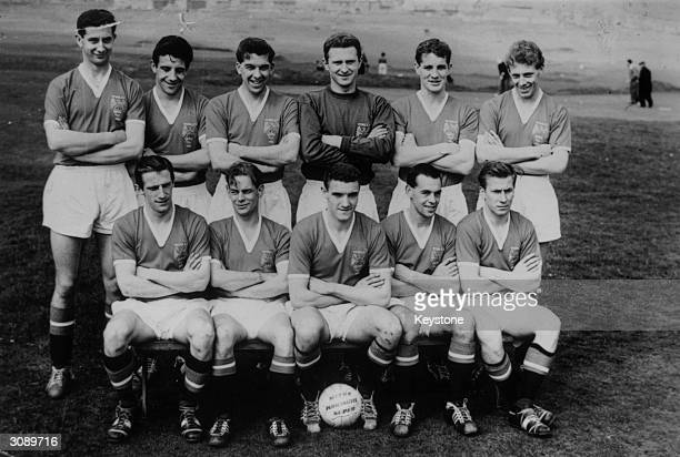 The Manchester United Team before the FA Cup Final against Bolton Wanderers Fred Goodwin Dawson Cope Harry Gregg Ian Greaves and Crowther Dennis...