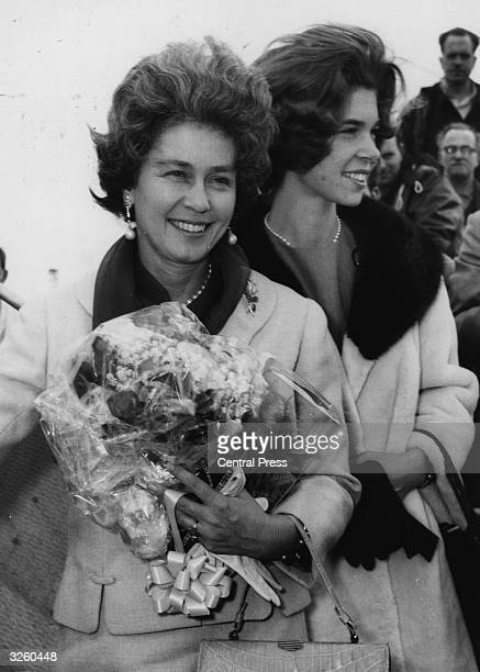 Queen Frederika wife of King Paul of Greece and Princess Irene of Greece as they leave London airport on their way home