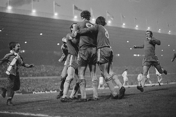 Young fan rushes on to the pitch after Chelsea's Peter Osgood scores the equalising goal in the FA Cup Final replay which Chelsea won 2-1 after extra...