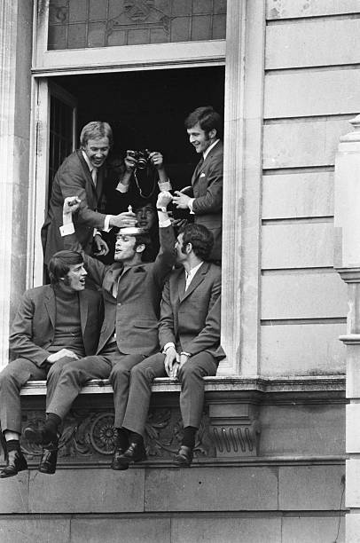 Chelsea FC football players , Alan Birchenall, John Hollins, Peter Osgood, John Dempsey and Ian Hutchinson , celebrating their FA Cup victory over...