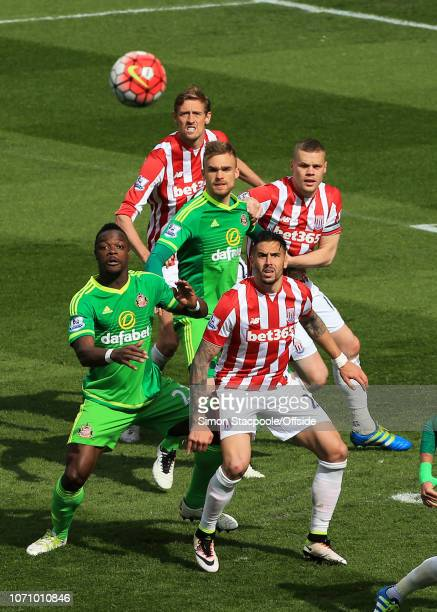 30th April 2016 Barclays Premier League Stoke City v Sunderland Geoff Cameron of Stoke and Lamine Kone of Sunderland watch the ball as it floats into...