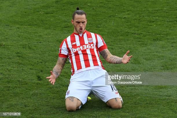 30th April 2016 - Barclays Premier League - Stoke City v Sunderland - Marko Arnautovic of Stoke celebrates after scoring their 1st goal - .