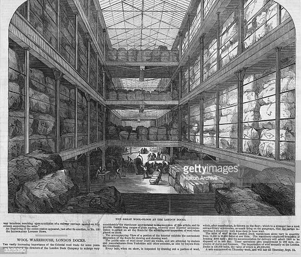 Bales of wool stacked up in a warehouse at the London Docks. Original Publication: Illustrated London News