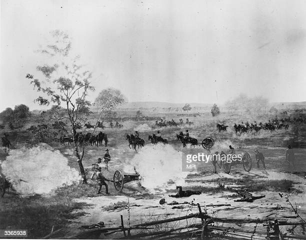 The second day of fighting in the Second Battle of Bull Run or Battle of Manassas during the American Civil War