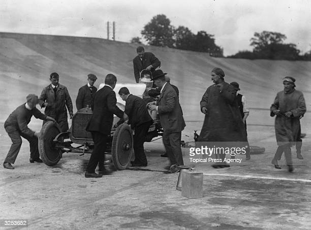 A pit stop at Brooklands to change tyres and refuel