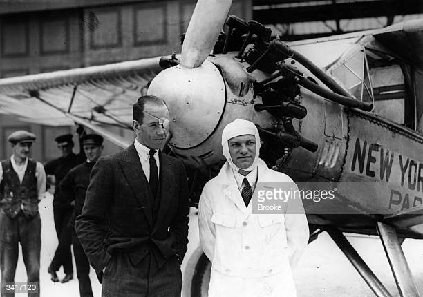 Charles Levine and pilot Captain WG Raymond Hinchliffe by 'Miss Columbia' at Croydon