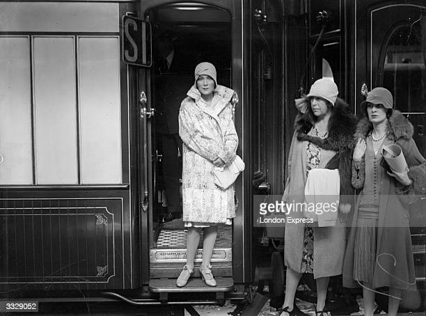 Mexican actress Dolores del Rio at the door of her railway carriage at Victoria Station London en route for the Continent