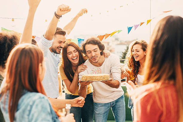30th birthday party - best friend birthday cake stock pictures, royalty-free photos & images