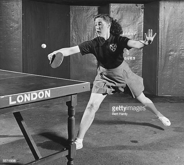 Scottish title holder and English mixed doubles champion Helen Elliott playing in the English Table Tennis Championships held at Wembley. Original...