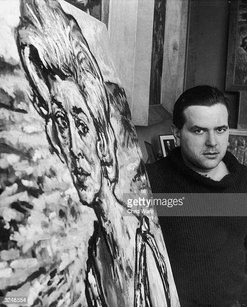 Welsh painter Andrew Vicari with a portrait entitled 'Leila' at his studio in Edwardes Square London The world's highest paid living artist he is now...
