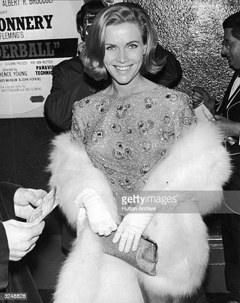British actor Honor Blackman smiling at the premiere of the James Bond film 'Thunderball' in London Blackman had starred in the Bond film...