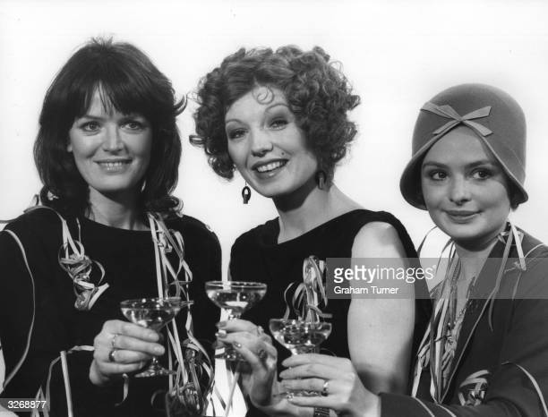 British actresses Judy Loe Rula Lenska and Lucy Gutteridge at a London Weekend Television reception to promote their new programmes 'Sunday Night...