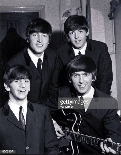 The Beatles posed backstage at the Finsbury Park Astoria London during the band's Christmas Show residency on 30th December 1963 Clockwise from top...