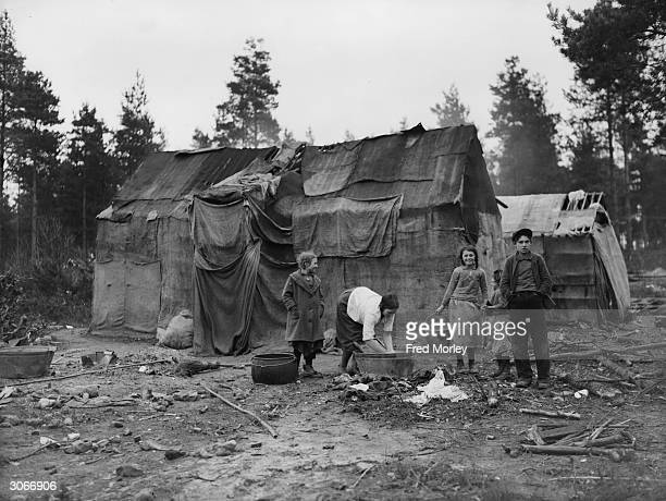 Makeshift tent in a gypsy encampment on Hurtwood Common, Surrey.