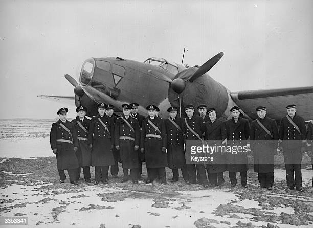 Men of the Royal Dutch Naval Air Service in front of one of the American built Hudsons financed by Queen Wilhelmina They will fly with the British...