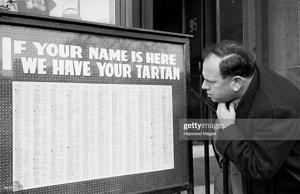 A list of Scottish surnames outside a tartan shop in