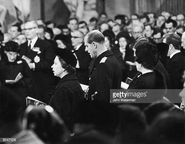 Queen Elizabeth II and Prince Philip attend the funeral of Winston Churchill at St Paul's Cathedral