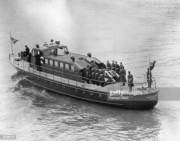 The coffin of British Prime Minister Winston Churchill on board the barge Havengore at Tower Pier after the state funeral at St Paul's cathedral