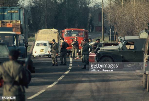 30th January 1972 British Army Soldiers man a roadblock on the BelfastLondonderry road on the day of a civil rights march in Derry The march ended in...