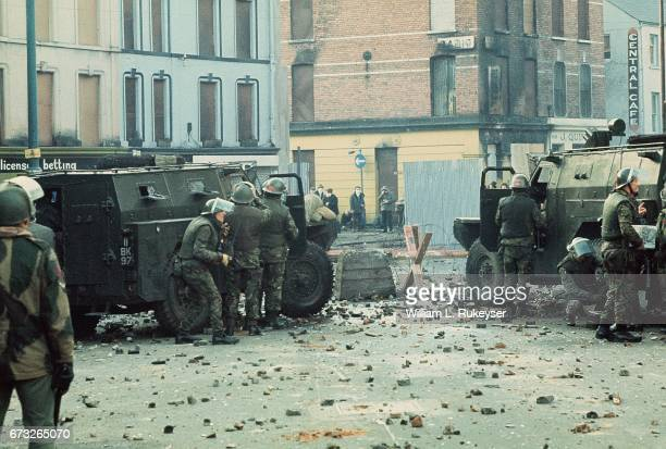 30th January 1972 British soldiers are pictured behind armoured water cannon and armoured cars as tensions rise during a civil rights march in Derry...