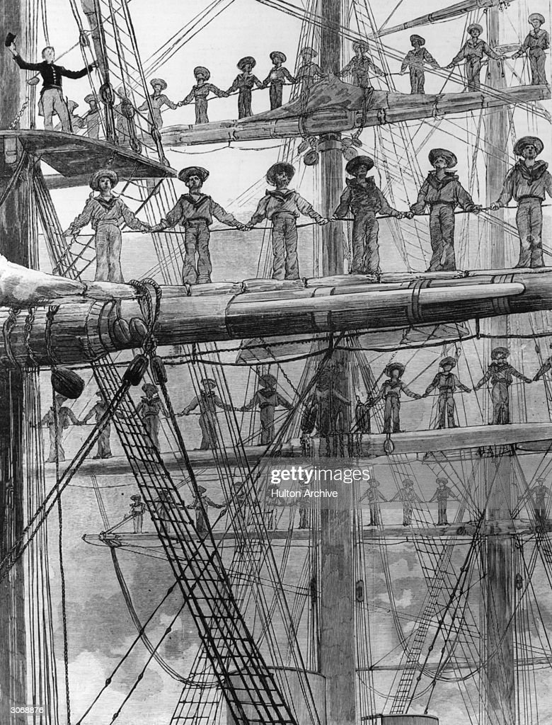 Sailors line the yards of the HMS Minotaur during Queen Victoria's Golden Jubilee naval review at Spithead, a sheltered strait of the Solent. Original Publication: The Graphic - pub. 1887