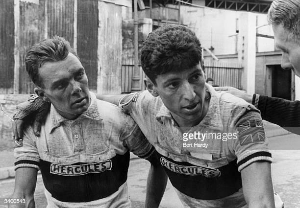 British cyclists Brian Robinson and Freddie Krebs listen to advice during the 1955 Tour de France Original Publication Picture Post 7908 The Tour De...